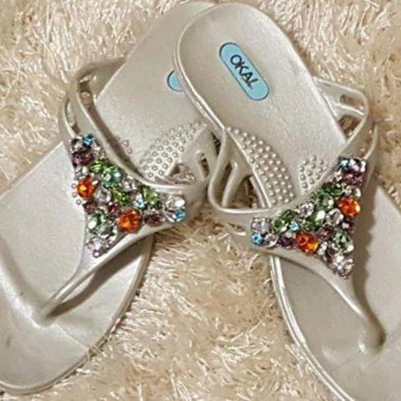 703f1f2dbd0466 Shoes - Women s OKA-B Jeweled Flip Flops ...